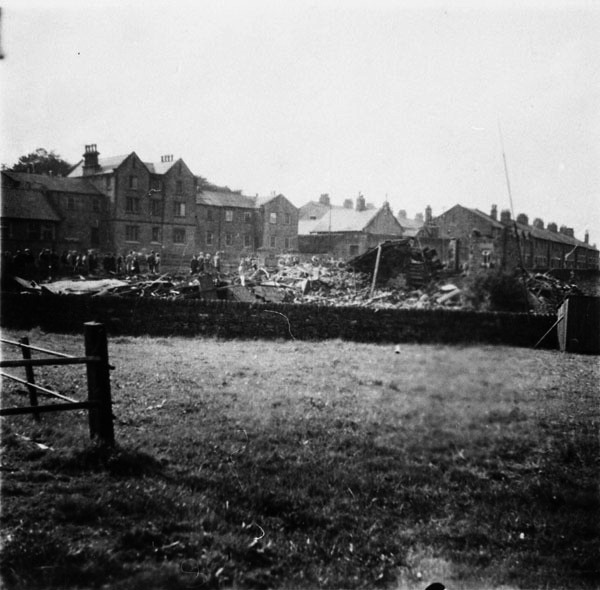 The wreckage of the bombed chapel at Low Leighton