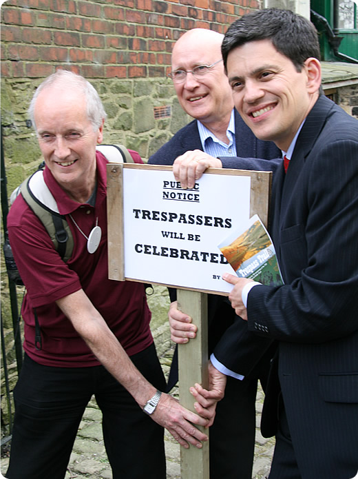 Sir Martin Doughty, Tom Levitt and David Milliband launch the Trespass Trail