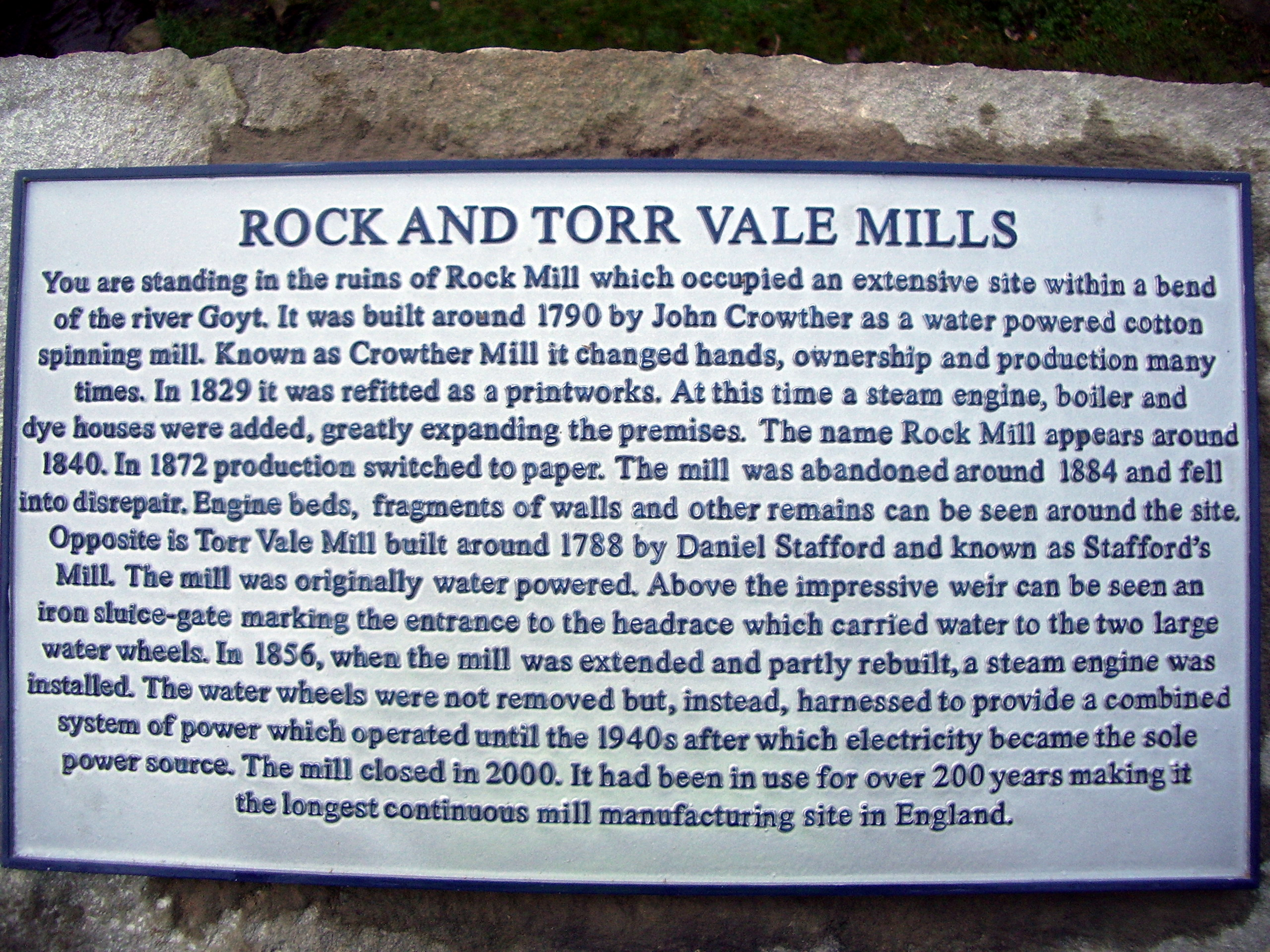 Rock and Torr Vale Mill Plaque in the Torrs