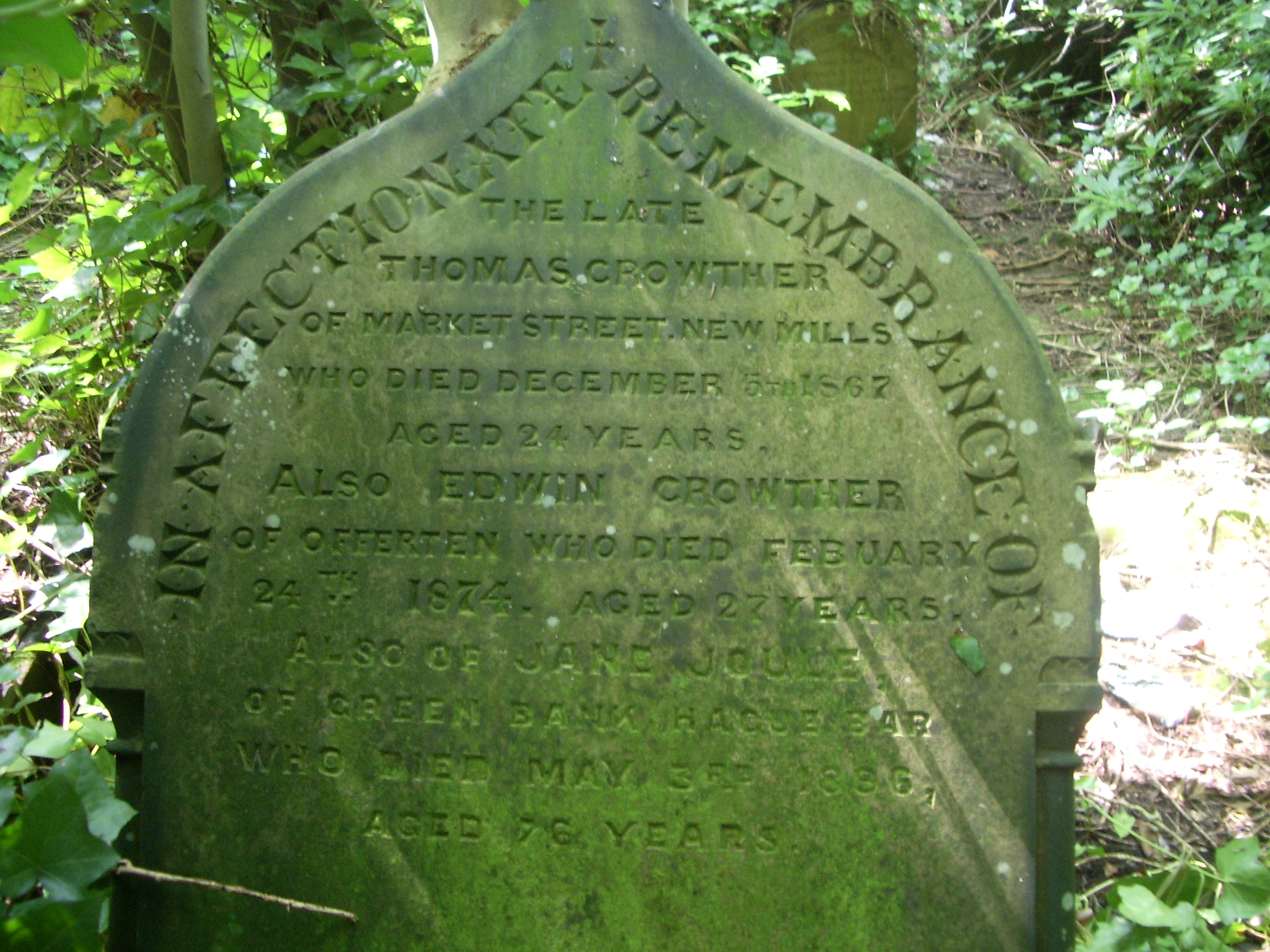 The Gravemarker of Thomas Crowther in the Methodist Chapel Yard