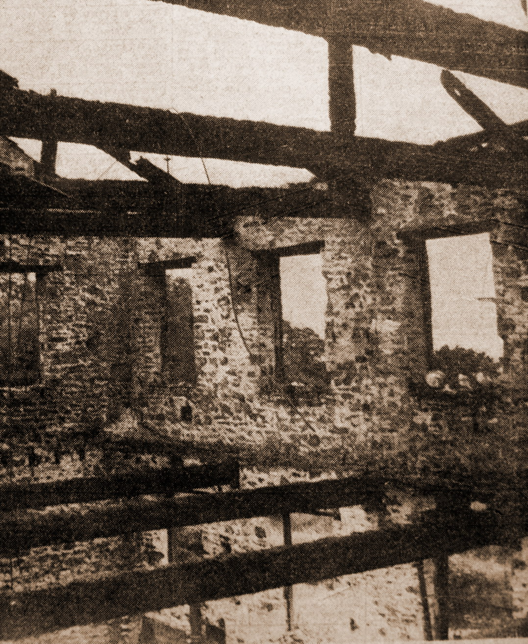 The shell of Woodside Mill soon after the fire.
