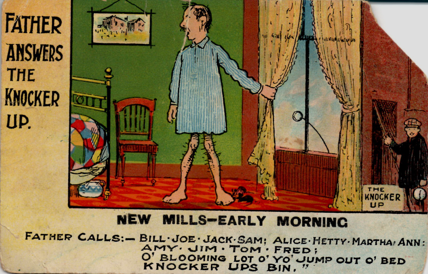 The only New Mills comedy postcard I've seen. Knocker up was a real job, sort of a human alarm clock.