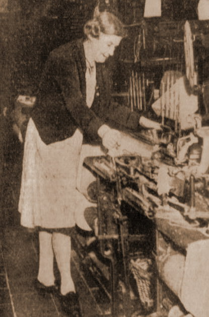 Miss Kate Measham operating a loom at Torr Vale in the 1950's as she had for 60 years