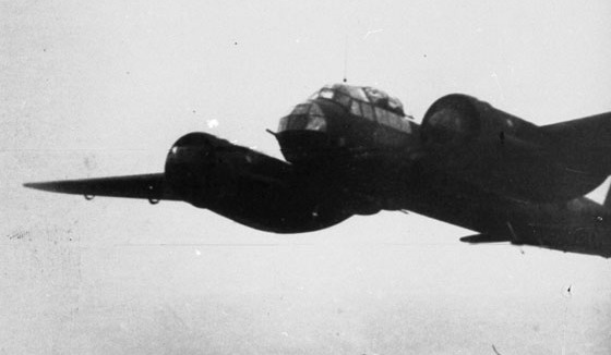 A photograph of one of the JU88 taken during the raid