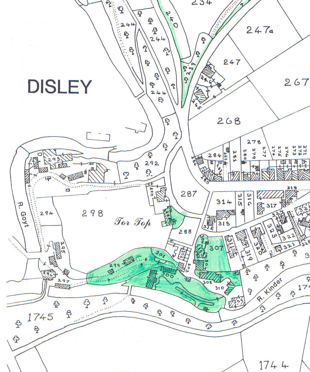 Barnes family holdings in the town centre (in green)